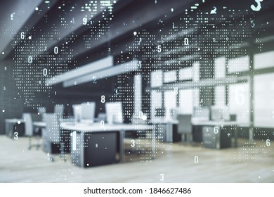 Abstract virtual coding concept and world map hologram on a modern furnished office background. Multiexposure