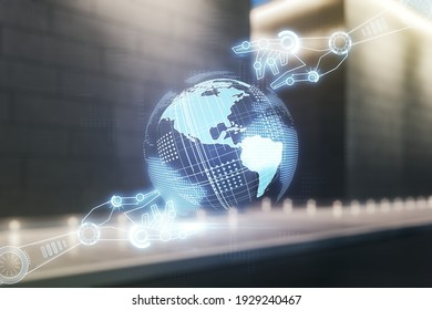Abstract virtual robotics technology hologram with globe on blurry contemporary office building background, artificial intelligence and machine learning concept. Multi exposure