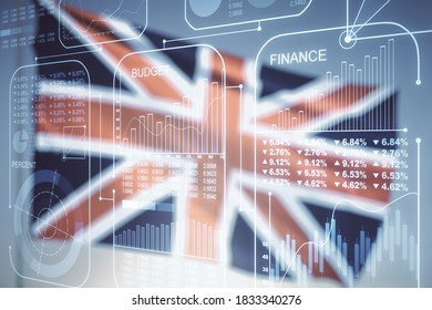 Abstract virtual stats data hologram on flag of Great Britain and sunset sky background. Multiexposure