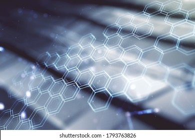 Abstract virtual wireless technology hologram with hexagon on abstract metal background, artificial intelligence and machine learning concept. Multi exposure