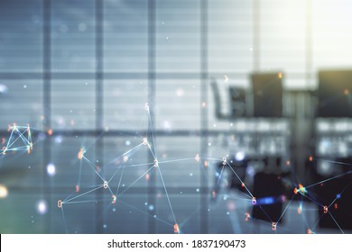 Abstract virtual wireless technology hologram on a modern conference room background. Big data and database concept. Multiexposure