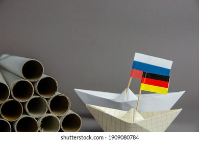 abstract vision Nord Stream 2 US sanction, gas pipes and flag of russia, germany