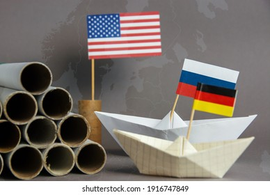 abstract vision Nord Stream 2 USA and EU sanction, gas pipes and flag of russia, germany