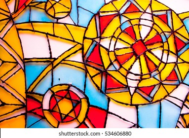 Abstract vitrage on glass. Hand drawn glass. Background with Christmas ornaments