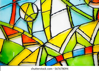 Abstract vitrage on glass. Hand drown glass. Background with ornaments