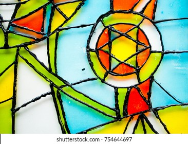 Abstract vitrage on glass. Hand drown glass. Background with Christmas ornaments