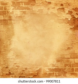 Abstract wall, brick, cracked paint. Vintage background image for design photo album, photo book with grunge texture.
