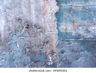 abstract wall texture. Background of a concrete gray and blue wall.