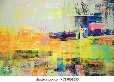 abstract wallpaper of oil painting with brush strokes in hot colors