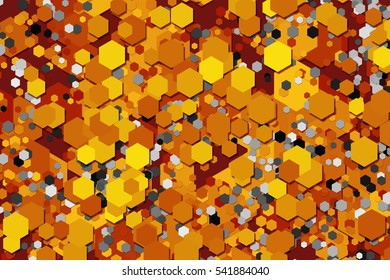 Abstract warm geometric background with bright hexagons.