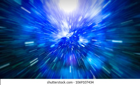Abstract of warp or hyperspace motion in blue star trail.