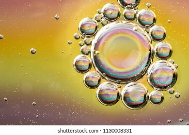 Abstract water bubbles background, many small bubbles around