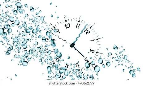 Abstract water drops background against clock face
