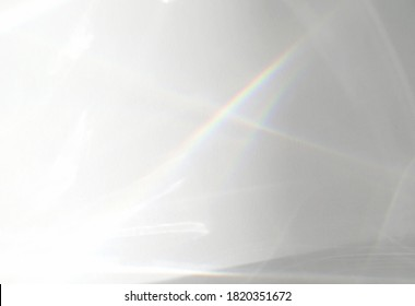 Abstract water texture overlay effect, rays of light  shadow overlay effect with rainbow reflection of light from water on a white background, mockup and backdrop