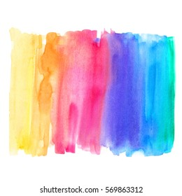 Abstract watercolor art hand paint on white background. Rainbow background.