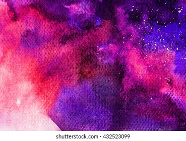 Abstract watercolor art hand painted background. Watercolor stains. colorful vintage water color texture.   Space hand painted watercolor background. Abstract galaxy painting.