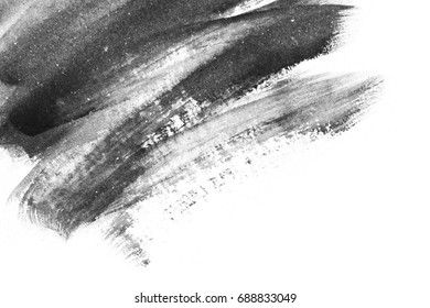 Abstract watercolor background. Hand painted brush strokes. Black