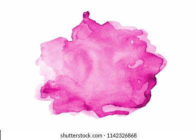 Abstract watercolor background image with a liquid splatter of aquarelle paint, isolated on white. Pink tones