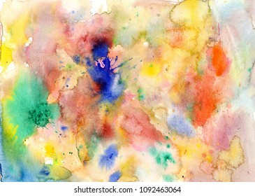 Abstract watercolor color stains and brush strokes