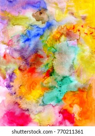 Abstract watercolor colorful background - hand drawn