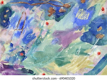 Abstract watercolor composition. Scanned abstract watercolor painting.