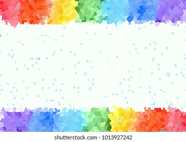 Abstract watercolor frame rainbow seven bright colors background isolated