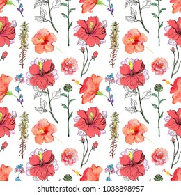 Abstract watercolor hand painted background. Aquarelle wild flower for background, texture, wrapper pattern, frame or border.