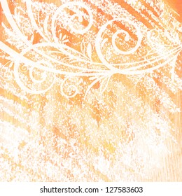 Abstract watercolor hand painted background with floral pattern.