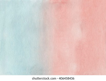 Abstract watercolor hand painted background. Pink and blue  watercolour texture gradient. Pastel colored palette. LightCyan and Salmon gradient background.