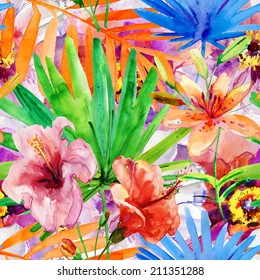 Abstract watercolor hand painted backgrounds with magnolia, lily , orchid flowers and tropical leaves.