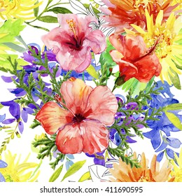 Abstract watercolor hand painted backgrounds with hibiscus, lily , wisteria and  orchid flowers and tropical leaves.