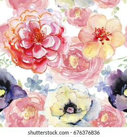 Abstract watercolor hand painted backgrounds with magnolia, lily, poppy , orchid flowers  leaves.