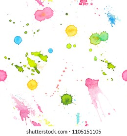 Abstract watercolor hand painted seamless background with drops of paint. Colorful bright pattern with rainbow colors for the posters backdrop, a carnival, holidays, print