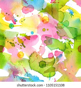 Abstract watercolor hand painted seamless background with splashes, drops, and smears. Colorful bright pattern with rainbow colors for the posters backdrop, a carnival, holidays, print