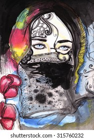 abstract watercolor illustrated woman with decorative scarf | self made | handmade