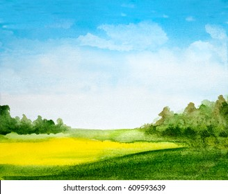 abstract watercolor landscape background with summer yellow field, trees, sky with clouds