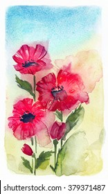 Abstract watercolor red poppy.