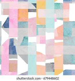 Abstract watercolor seamless pattern. Artwork in geometric modern style.
