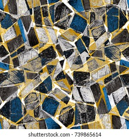 Abstract watercolor seamless pattern. Artwork in geometric modern style. Contemporary. Stained glass window.