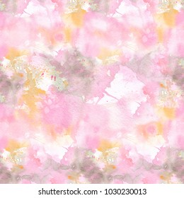 Abstract watercolor seamless pattern with colorful washes of paint. Soft light tints of pink, green and yellow. Hand-painted texture for packaging, wedding, birthday, scrapbooking