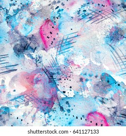 Abstract watercolor seamless pattern with splatter spots, lines, drops, splashes and hearts. Cyan blue, bright pink, grey and white color palette.