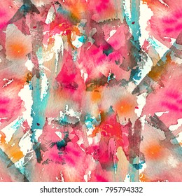 Abstract watercolor seamless pattern with splatter spots, drops and splashes. Bright red, pink, orange, turquoise and white color palette.