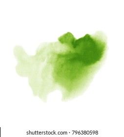 Abstract watercolor stain background. Spring bright green colors. Hand drawn watercolour splash isolated on white background.