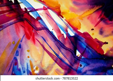 Abstract watercolor texture. Modern painting. Colorful rainbow palette. Avant-garde art. Reminiscent of graffiti. Contemporary art. Stains, spray paint. Colorful streaks