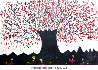 Abstract watercolor tree