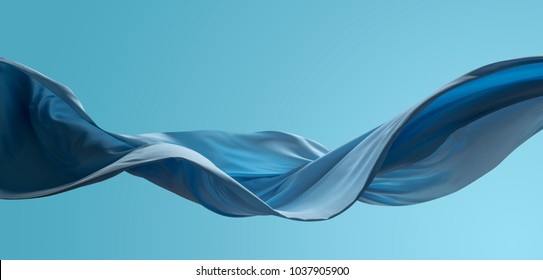 abstract wave cloth movement dynamic blue color over sky tone background