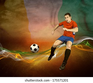 Abstract waves aroun soccer player on the Cote d'Ivoire national flag background