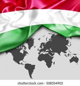 Hungary flag wallpaper images stock photos vectors shutterstock abstract waving hungary flag over world map gumiabroncs Gallery