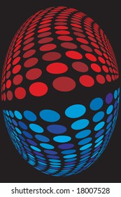 abstract wavy blue and red background design made of circles