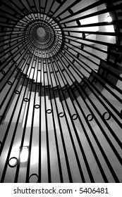 abstract whirled staircase black and white